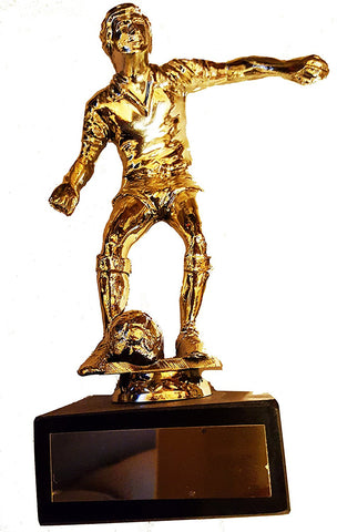"Budget Football Trophy (7.5"") - Economy Gold Colour Plastic Footballer Figure on Black Marble"