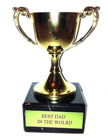 "Engraved ""Best Dad in the World"" Trophy Award: Gold Cast Metal Cup Trophy on Speckled Black Marble Base (4.5"" / 11cm)"