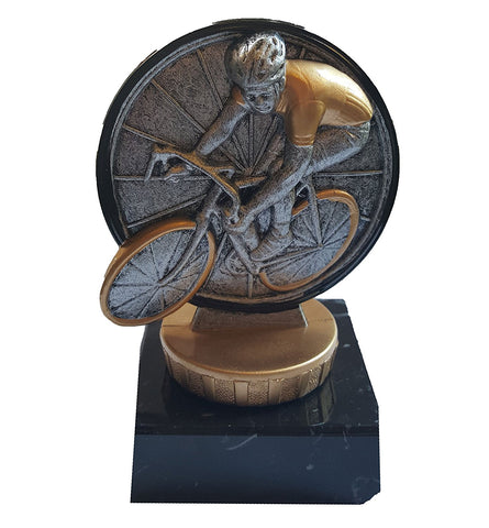 "Cycling Trophy (3.75"") - Small Economy Trophy featuring cyclist on cycle - Pocket Colour Trophy Range"