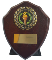 "Small Trophy Shield - 4"" - Wooden Shield Trophy in Rosewood - Generic Champion Centre for Any Sport or Event"