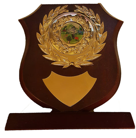 "Gardening Trophy Shield - 6"" / 15cm - Wooden Shield Trophy for Allotments or Gardening"