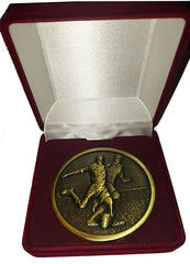 Football Medal - Antique Gold Colour Metal - in Red Velvet Presentation Box