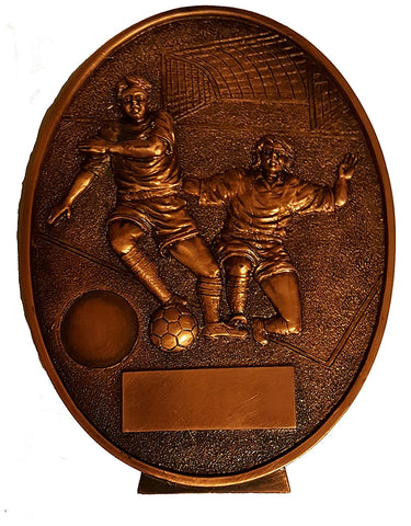 Football Trophy Plaque - Bronze Colour Resin Football Scene