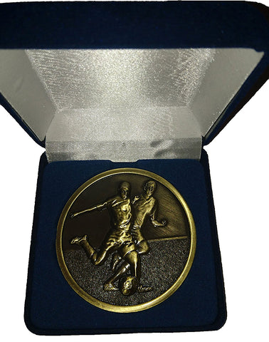 Football Medal - Antique Gold Colour Metal - in Blue Velvet Presentation Box