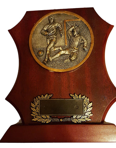 Football Wooden Trophy Shield - 7""