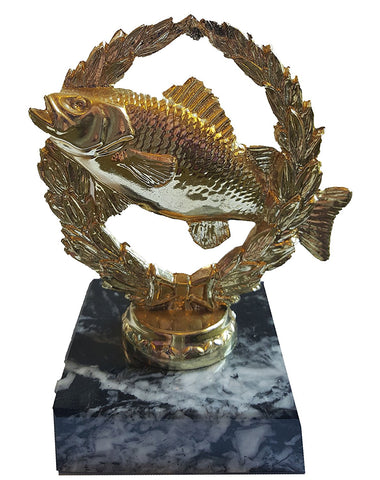 "Budget Fishing / Angling Trophy (4"") - Small Economy Plastic Fish Figure on Marble Base"