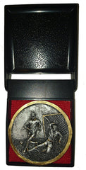 Football Medal (7cm) - Antique Silver Colour Resin featuring Two Male Footballers - in Black Plastic Presentation Box