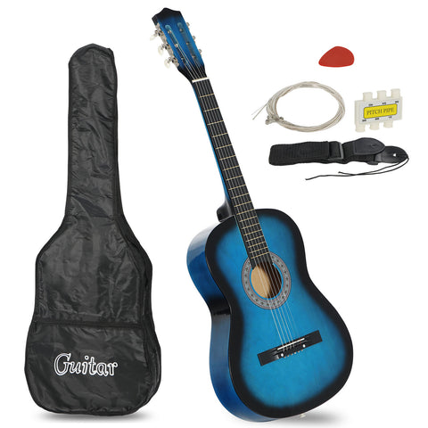 """Beginners 38"""" Acoustic Guitar with Case Strap"""