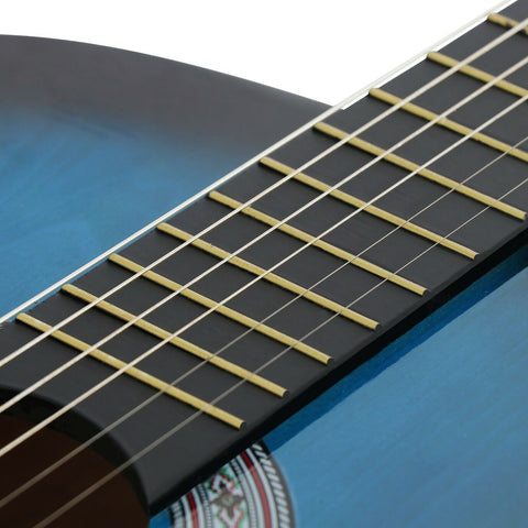 wood construction, steel strings, and a glossy, smooth finish