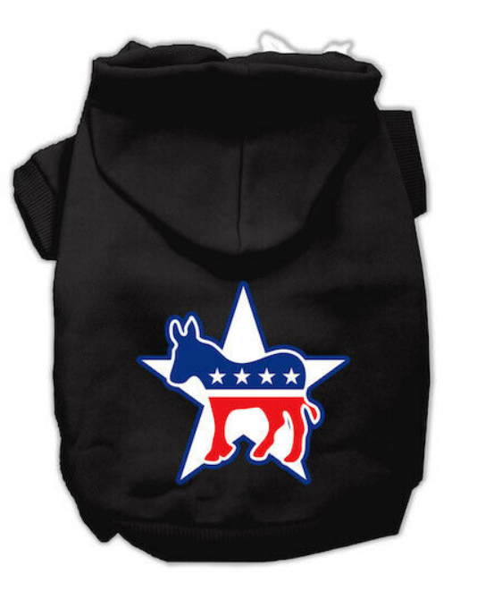 Barkhub™ Democrat Screen Print Pet Sweater Hoodie in Black for Dogs