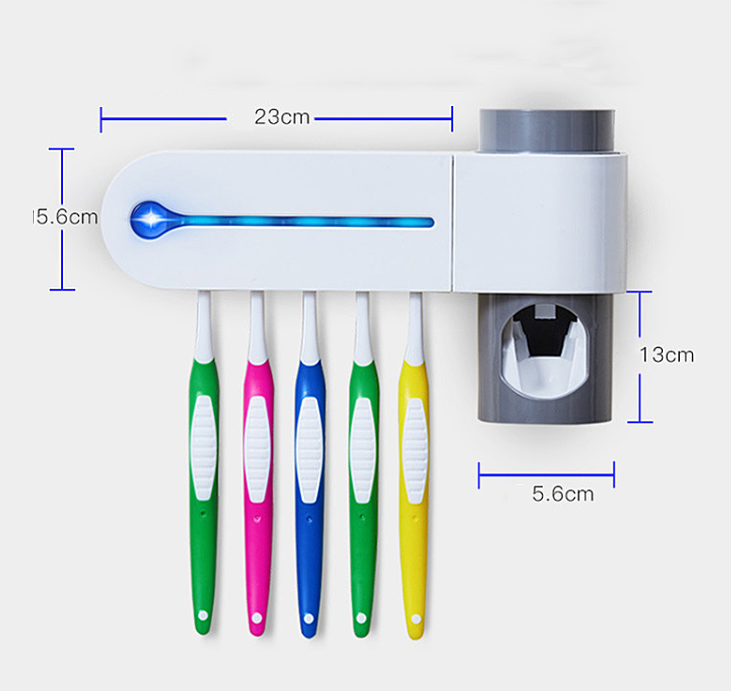 CineTech™ UV Toothbrush Wall Mount Sterilizer and Toothpaste Dispenser