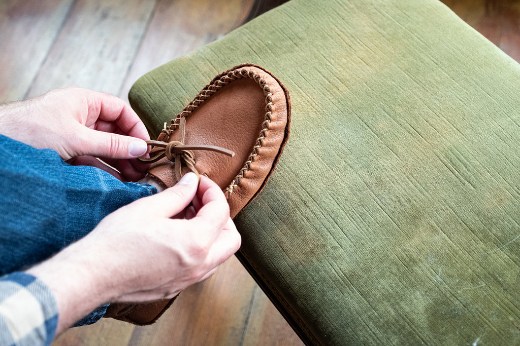 Wakonsun wide-fitting moccasins by Alfred Cloutier