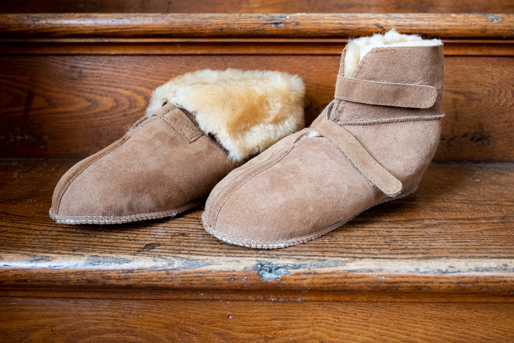 sheepskin slippers with collar up or down made in canada
