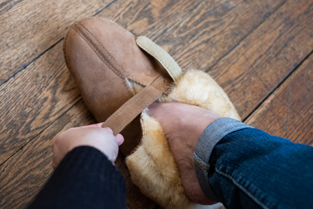 Sheepskin slippers with velcro strap extra wide opening