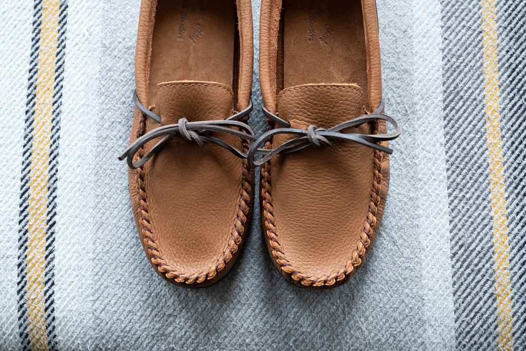 Men's loafer moccasins made from elk hide