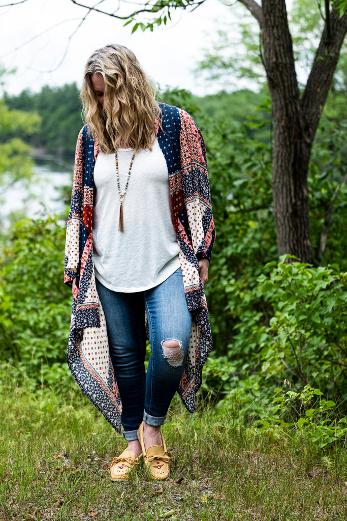 lifestyle Native style moccasins with long canopy wrap sweater cardigan