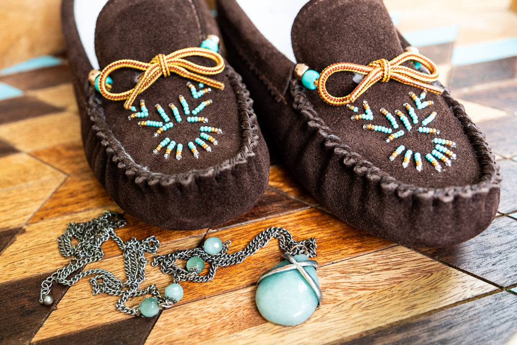 cute suede beaded moccasin slippers for women
