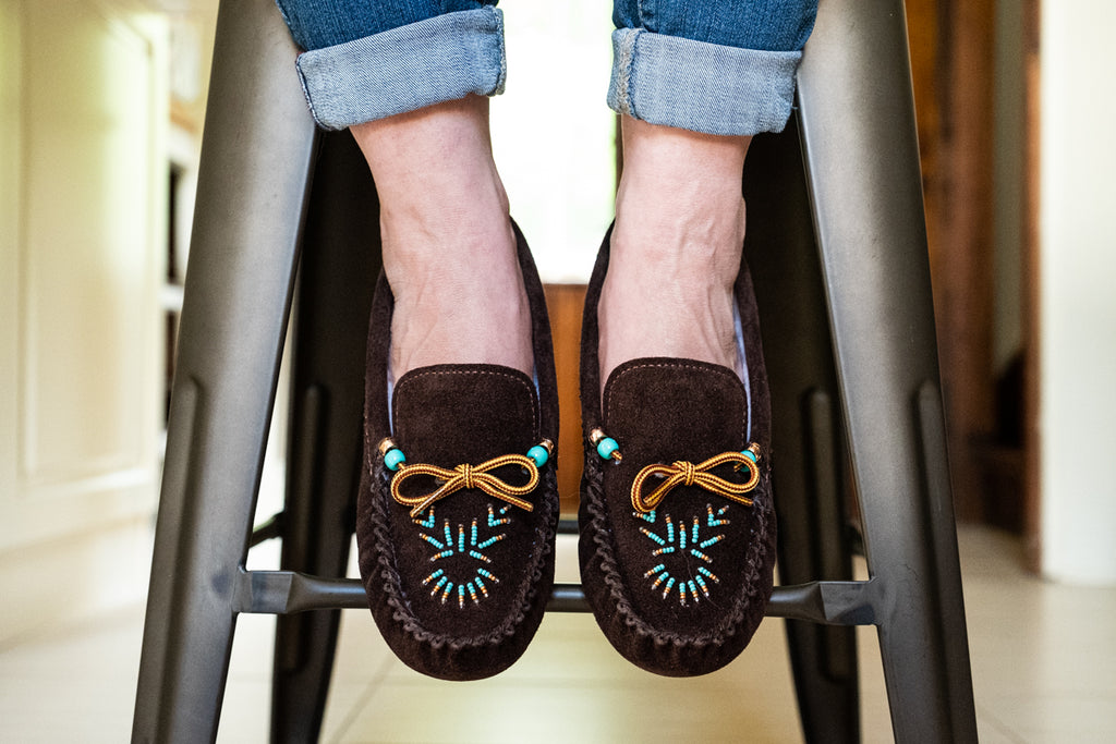 brown moccasins suede with turquoise beading on the front