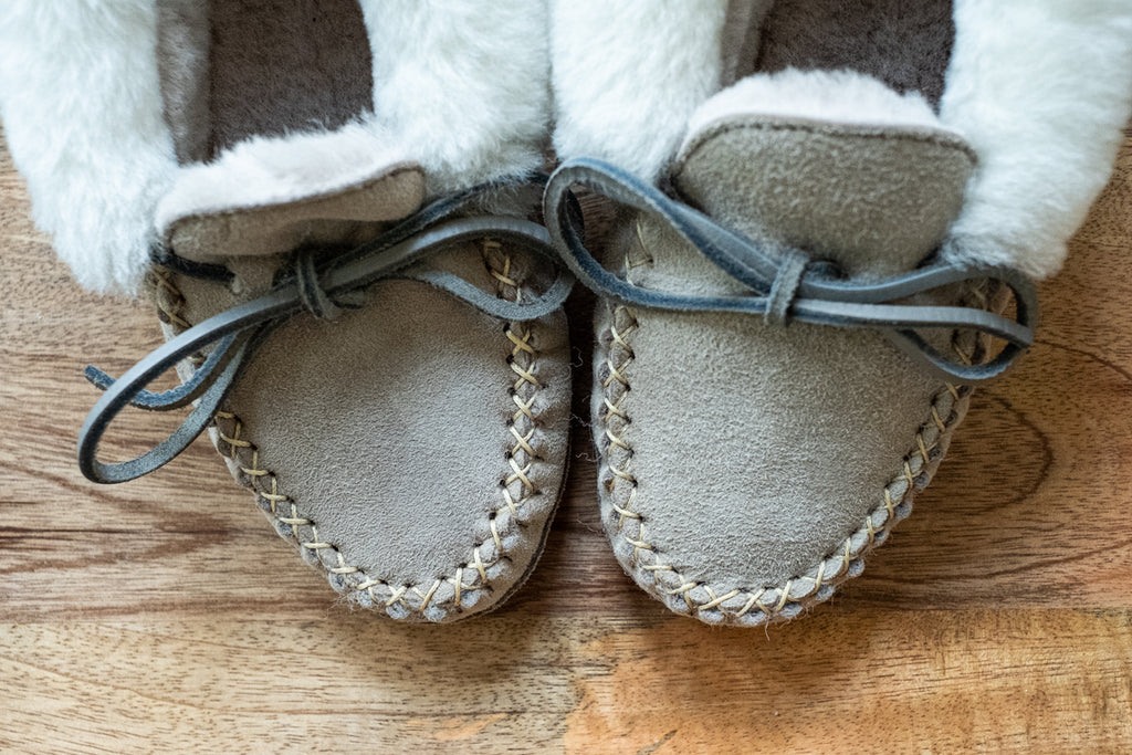 close up of sheepskin slippers