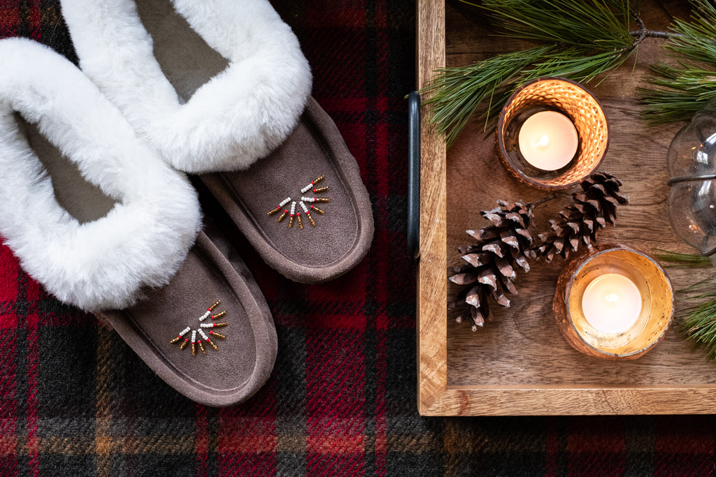 Cozy fall slippers with pinecone and candle