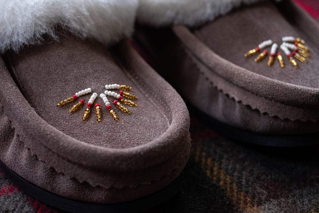 close-up of hand-beading on moccasins Native style