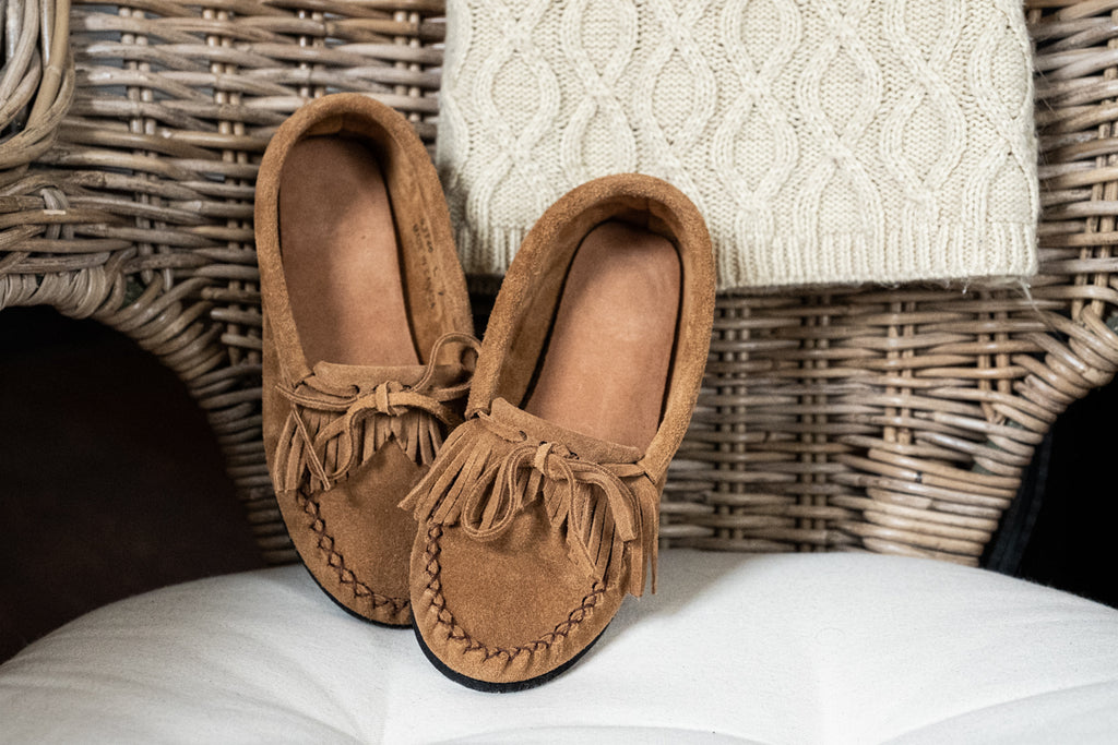 cute stylish ladies suede moccasins with fringe