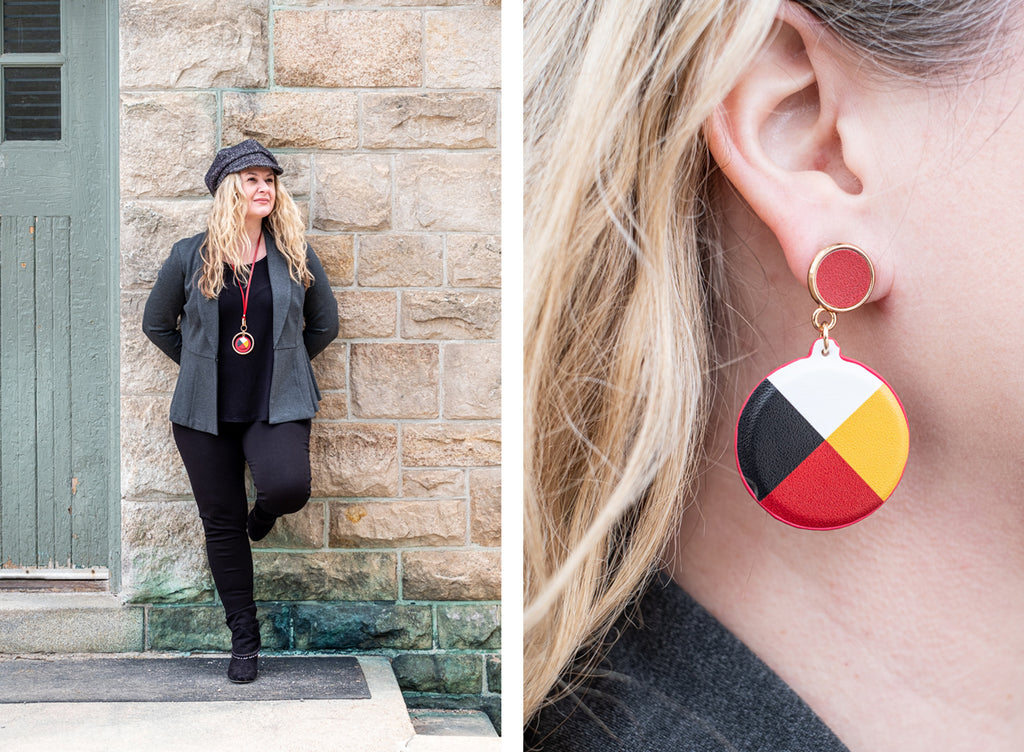 Native Style jewelry medicine wheel earrings and necklace