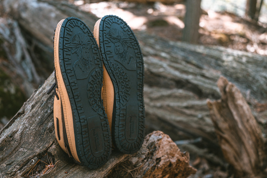 rubber camping sole with Native American chief on the soles moccasins