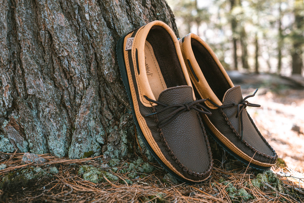 men's stylish authentic moccasins made from leather