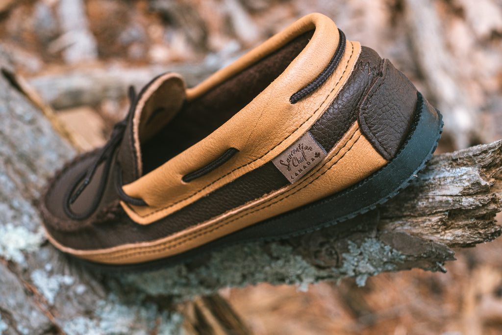 Moose hide leather accents on moccasins