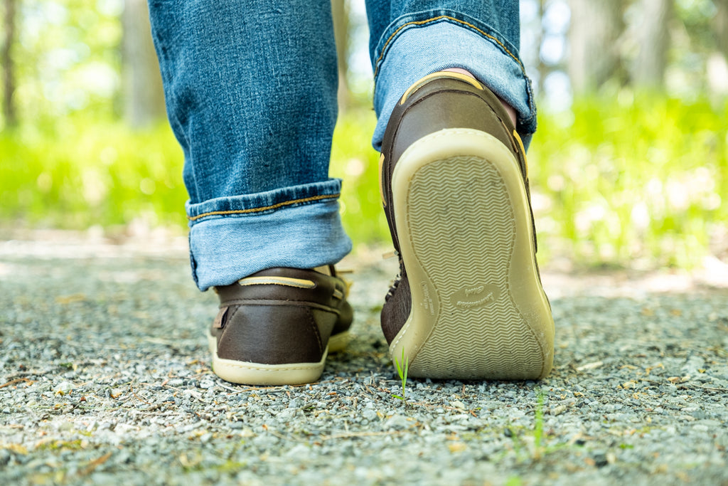 Walking in a pair of rubber sole comfy moccasins