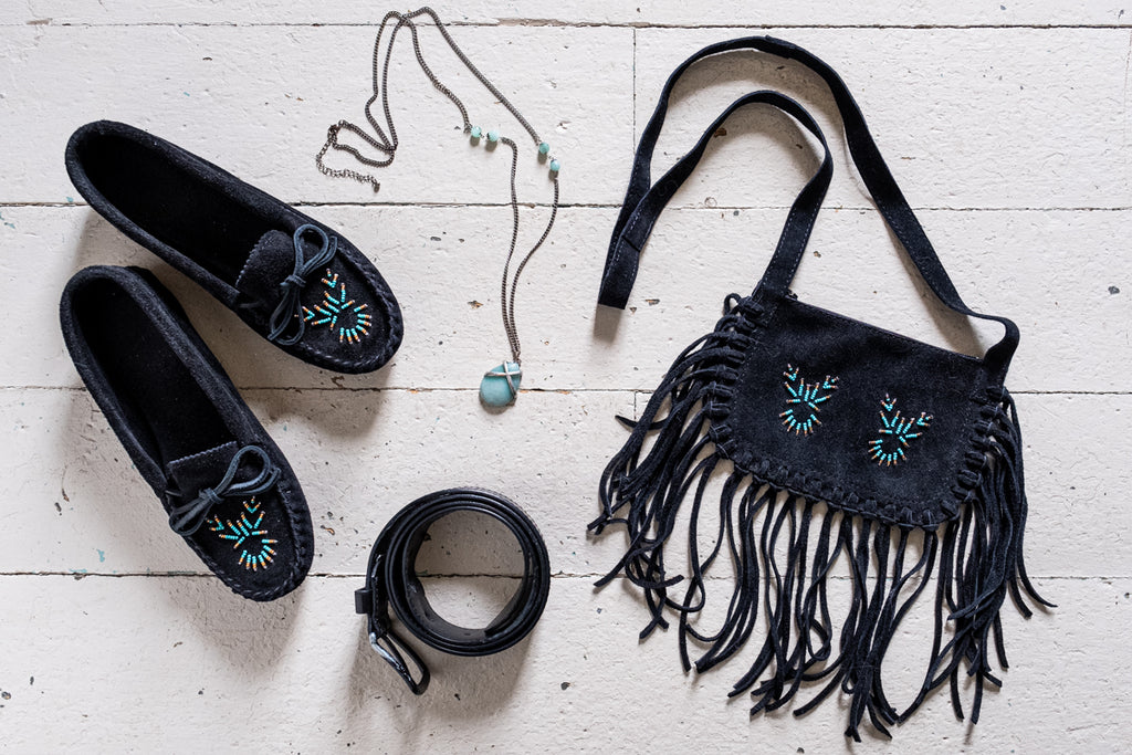 black moccasins black purse turquoise jewelry and beading native style