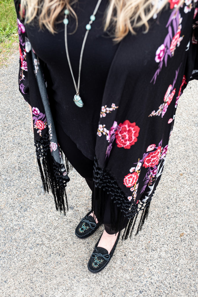 black moccasins with stylist outfit
