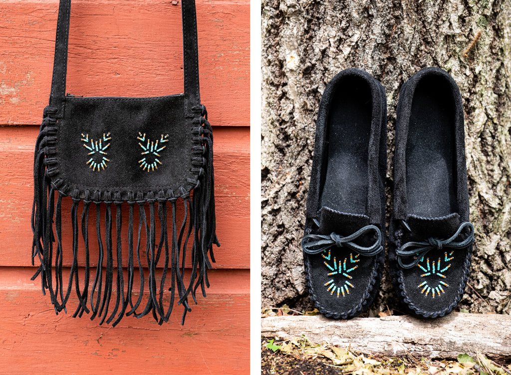 black matching moccasins and fringed purse native american style