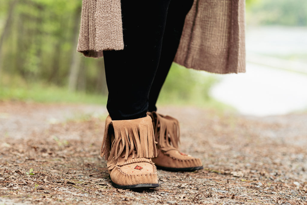 Long fringed beaded moccasin boots