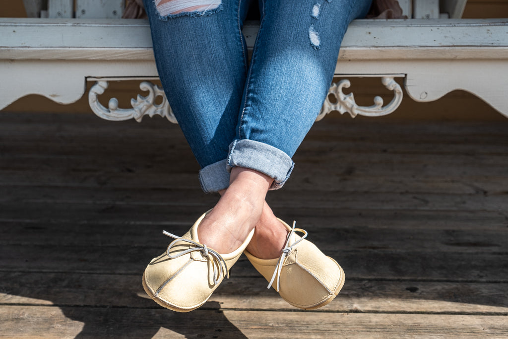 Ballet Moccasins for outdoors with crepe rubber sole