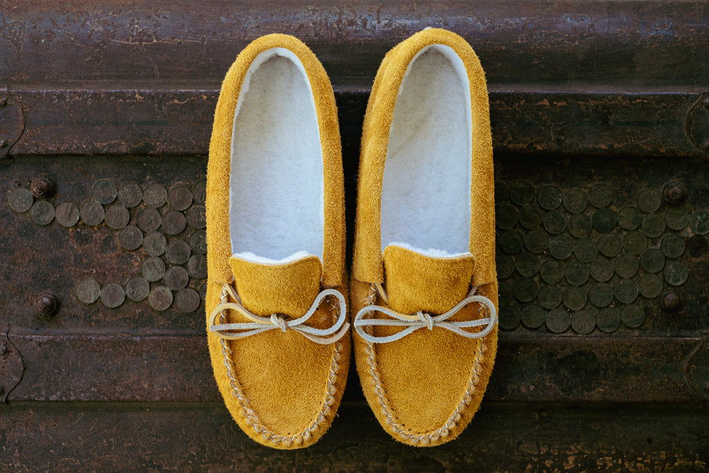 moose hide suede moccasins with fleece lining warm winter slippers