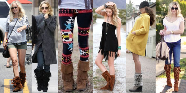 7bc98625fc3 Moccasin boots look quite fashionable with skinny jeans but can be worn  with anything from dresses to shorts.