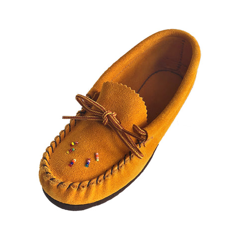 Junior's Rubber Sole Suede Beaded Moccasins 120X