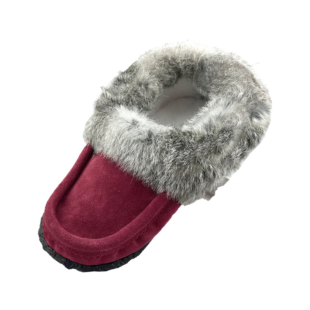 Men's Fleece Lined Suede Rabbit Fur Moccasins With Crepe Sole 12600 (Size 13 ONLY)