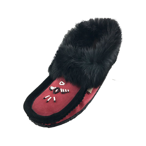 Women's Fleece Lined Suede Moccasins with Crepe Sole & Rabbit Fur 126541 - SIZE 4 ONLY