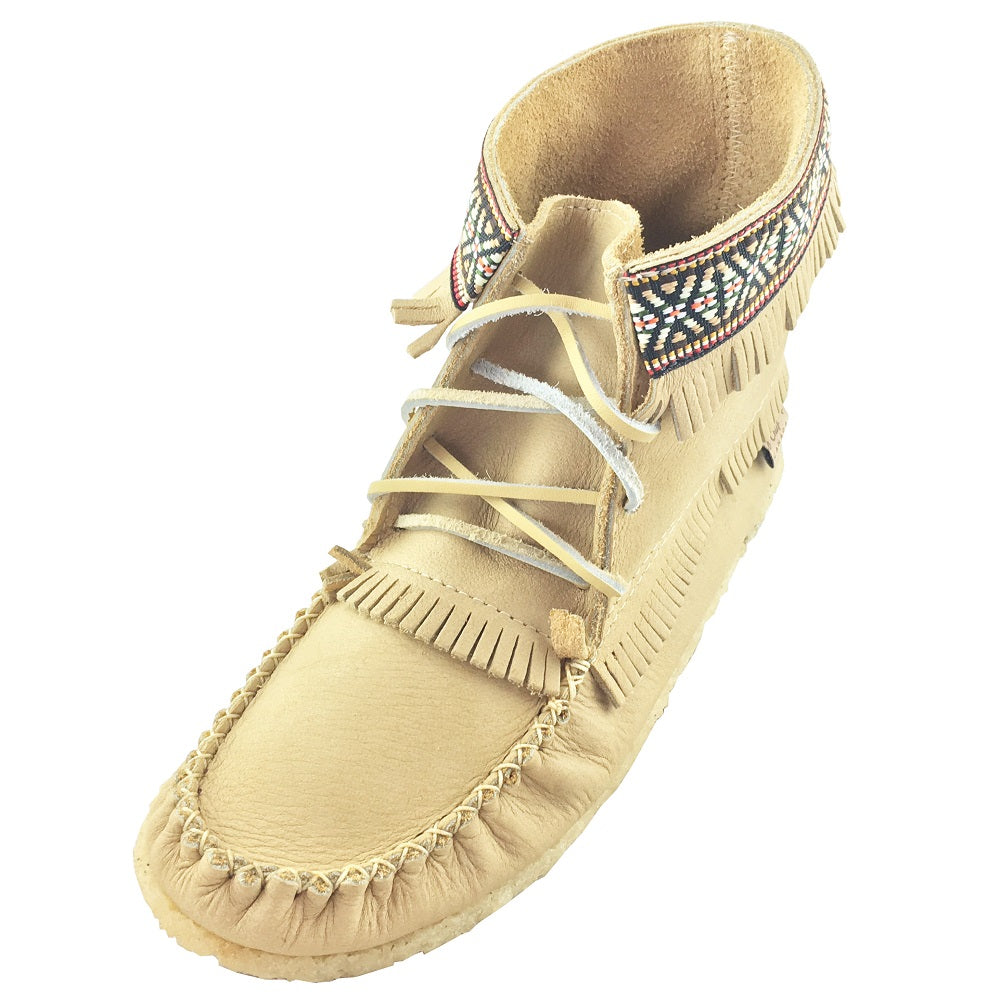 Women's Ivory Moosehide Leather Moccasin Boots 137597IV-L (Size 9 & 10 ONLY)