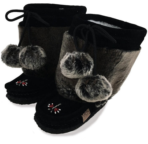 "Children's 8"" Canadian Mukluks Black with Faux Fur Trim 1982447BL"