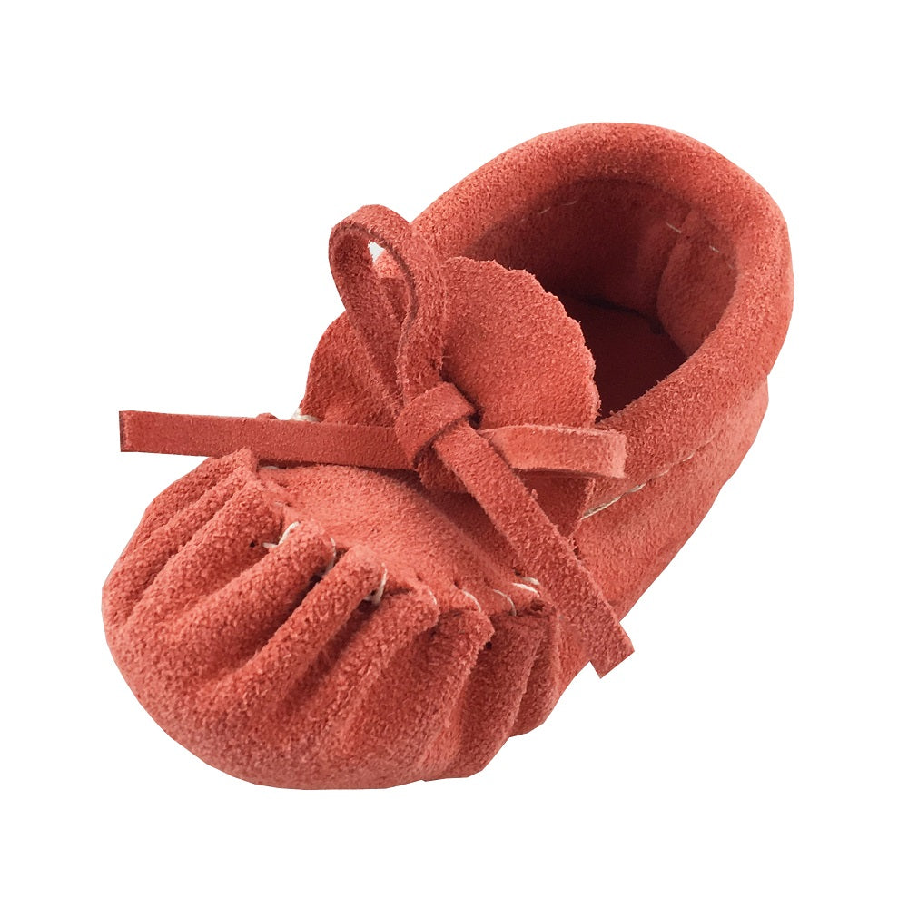Baby Soft-Sole Suede Coral Moccasins - 220COB