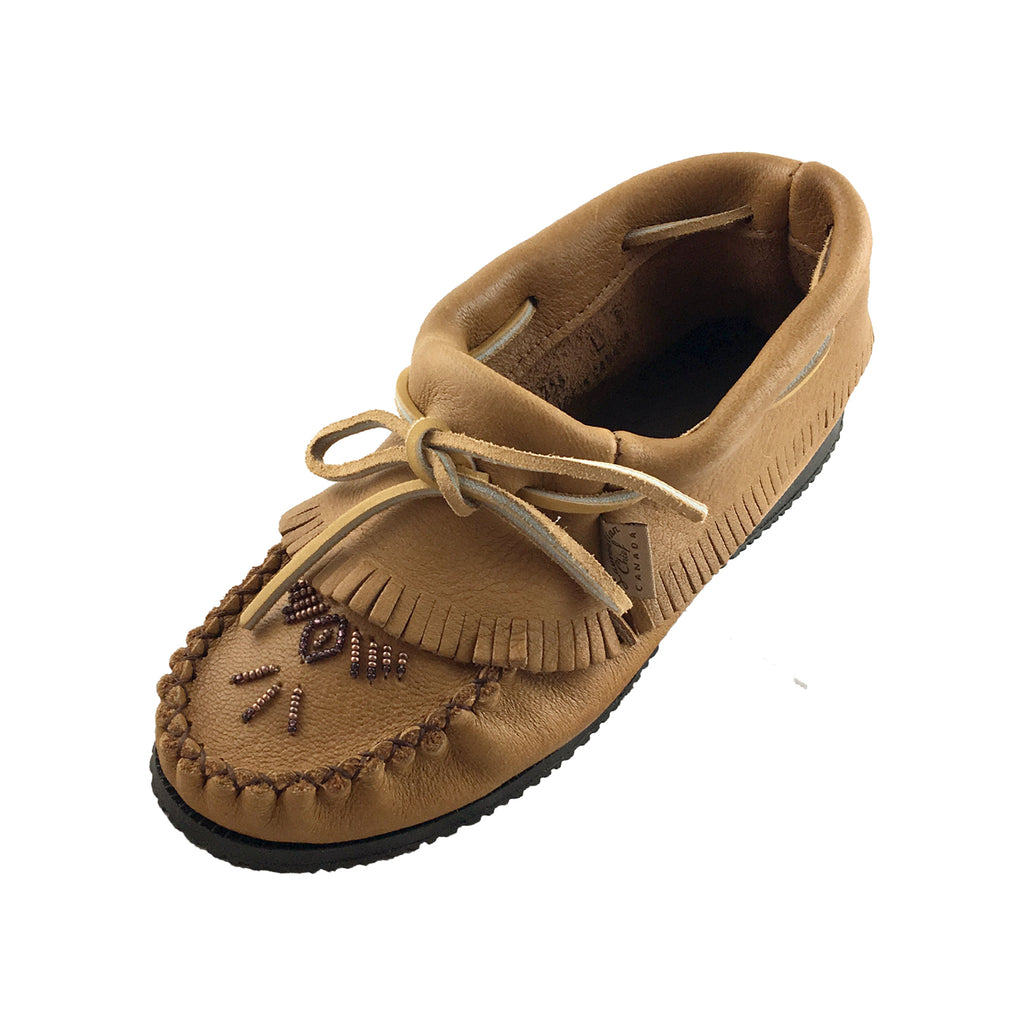 Women's Rubber Sole Beaded Ankle Moccasin Shoes 259CKL