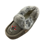 Men's Sheepskin Lined Suede Moccasins With Rabbit Fur 356608M (SIZE 8 ONLY)