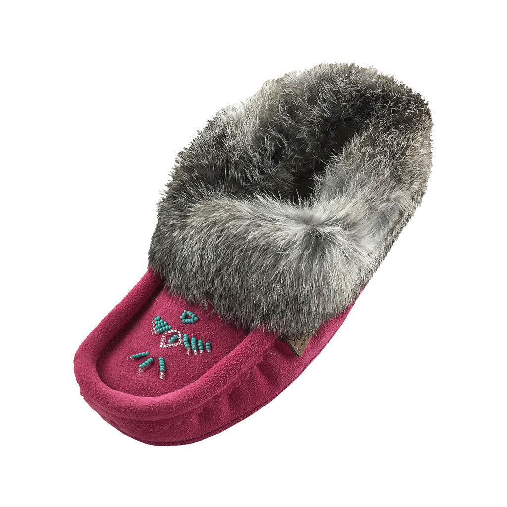 Women's Sheepskin Lined Fuchsia Suede Moccasins With Rabbit Fur 356988L (SIZE 4 & 5 ONLY)