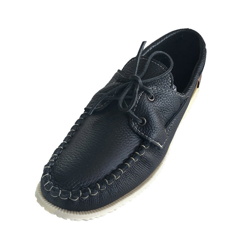 Men's Rubber Sole Leather Boat Shoe Moccasins 37755BK (SIZE 8 ONLY)