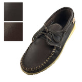 Men's Rubber Sole Leather Boat Shoe Moccasins 37755ROT