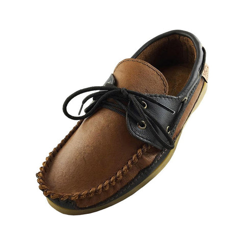 Men's Rubber Sole Moosehide Leather Deck Moccasins 37756 (SIZE 11 ONLY)